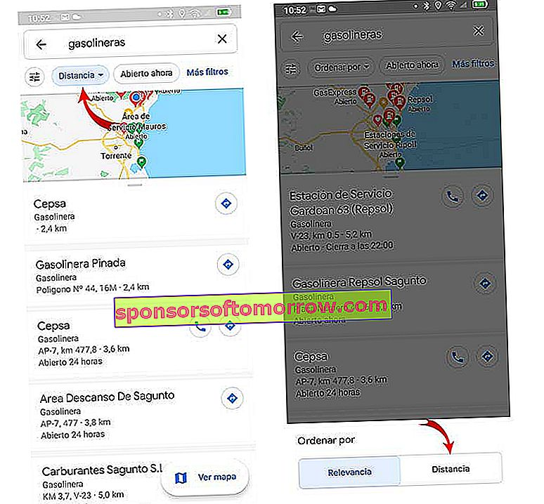 how to find the nearest gas station with Google Maps sort