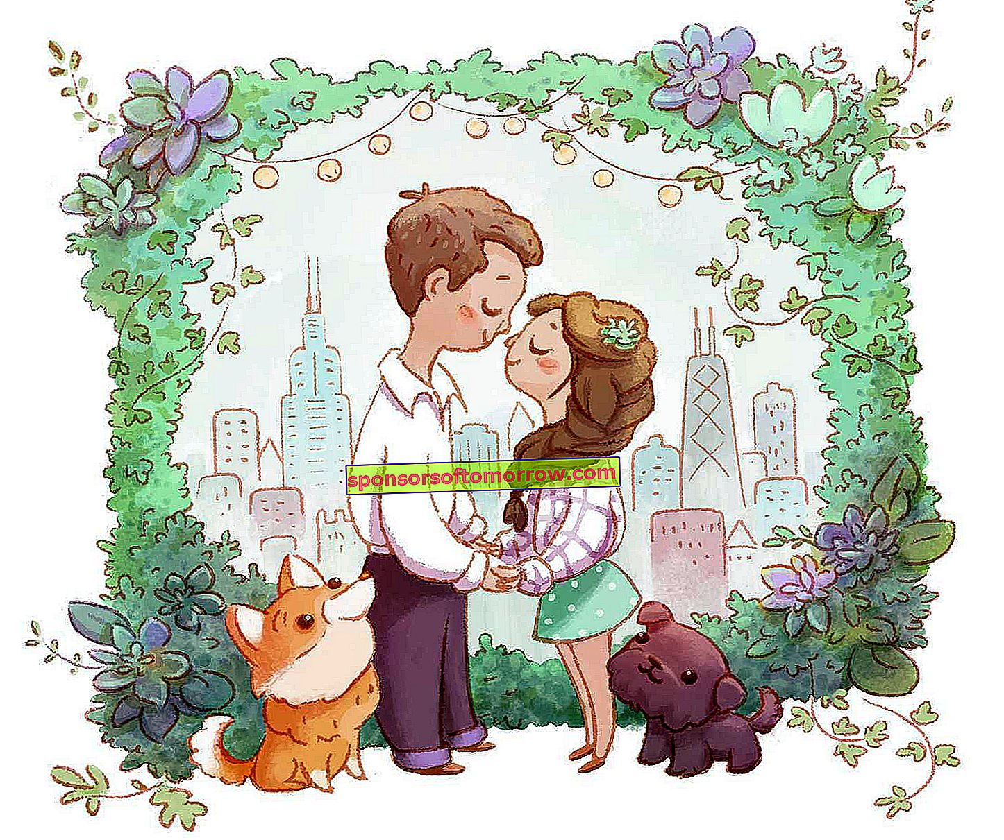 wedding invitation couple dogs