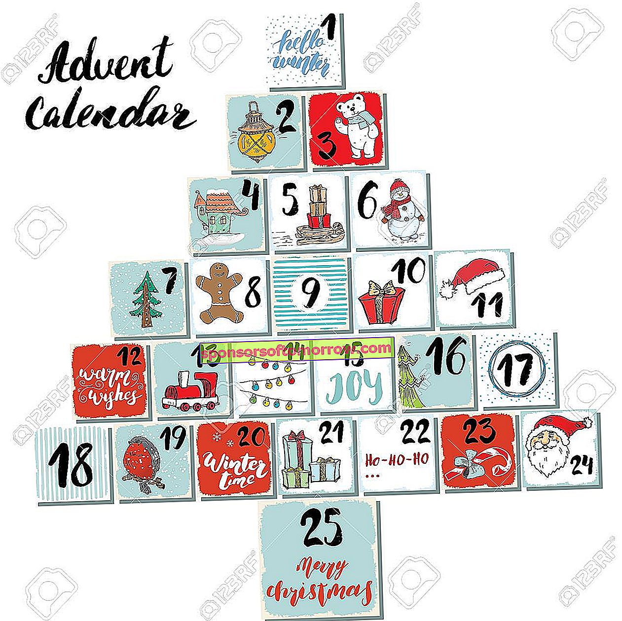Christmas advent calendar.  Hand drawn elements and numbers.  Winter holidays calendar cards set design, Vector illustration