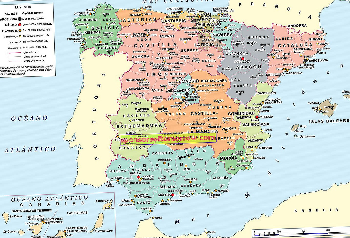 Maps of Spain 2019, more than 250 current images to download and print
