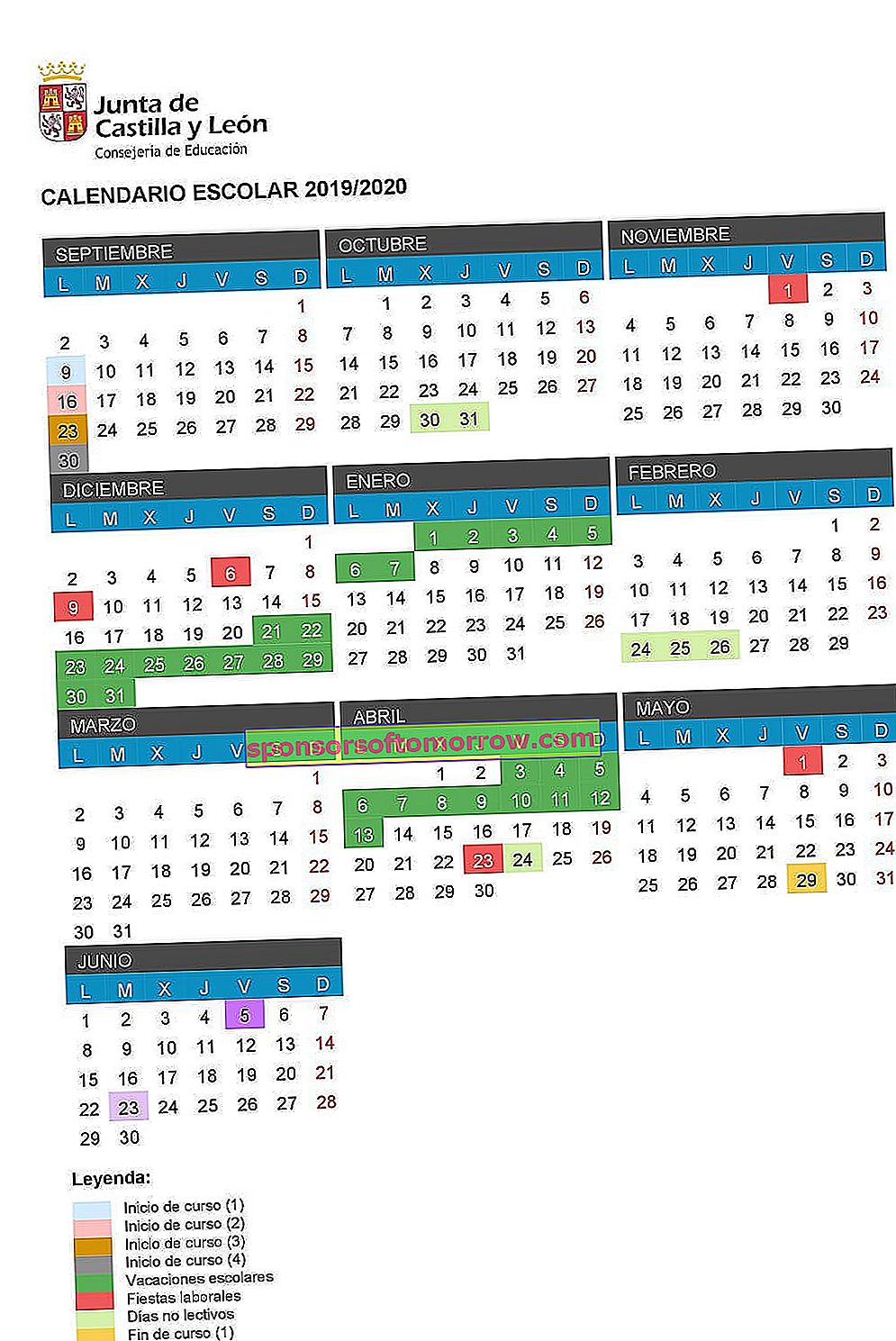 castile and león school calendar