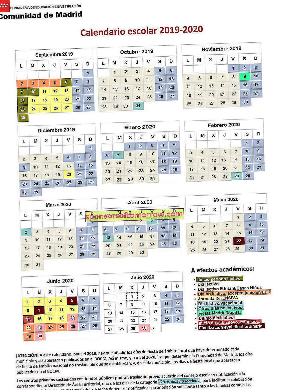 Madrid school calendar 2019 2020