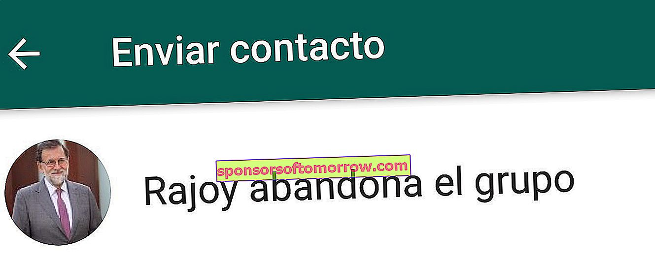 Send Rajoy as a contact on WhatsApp