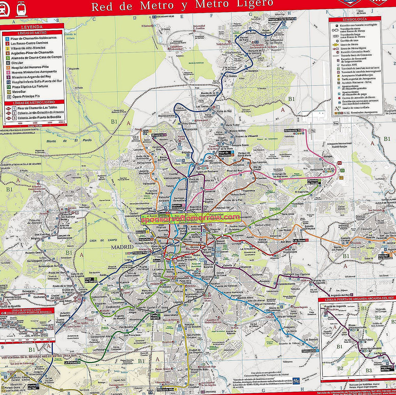 Madrid metro, more than 100 images of the metro, commuter and bus map