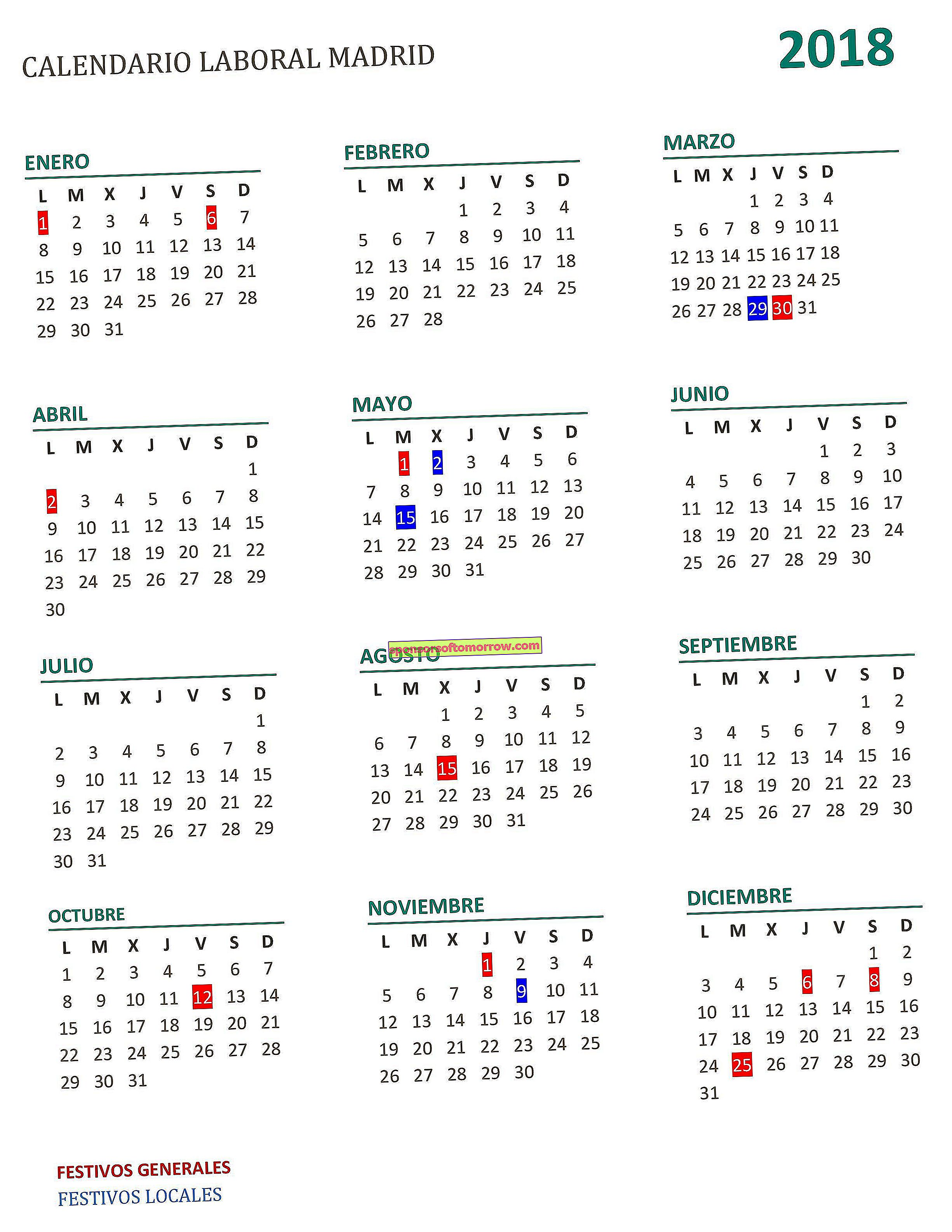 Calendario laboral 2018 de Madrid