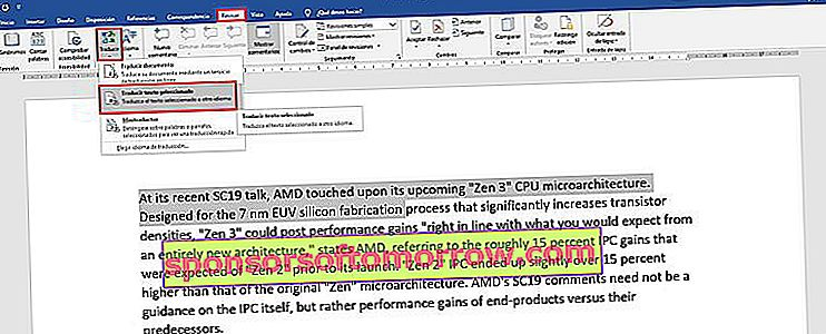 How to directly translate a text in Word 1