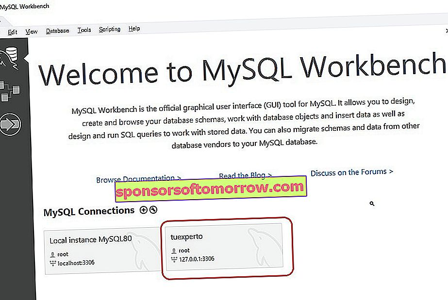 connect to MySQL server from MySQL Workbench 05 application